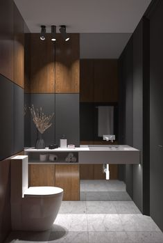 Akhunov Architects, The design of the guest bathroom solution without the use of. - Akhunov Architects, The design of the guest bathroom solution without the use of wall tiles, decora -