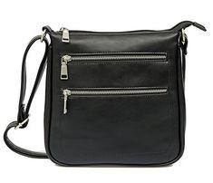 SALE PRICE - $16.99 - JOLLYCHIC PU Leather Multi Pockets Crossbody Bag Travel Shoulder Purse Black