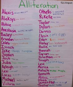 Use students names to introduce alliteration! First day of school activities.