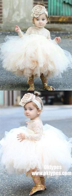 Ball Gown Bateau Long Sleeves Short Tulle Cute Flower Girl Dress with Lace, TYP1010 #flowergirldresses #flowergirl Short Girl Wedding Dress, Wedding Dresses For Girls, Perfect Wedding Dress, Girls Dresses, Bridesmaid Dresses, Bridesmaids, Tulle Dress, Lace Dress, Dress Long