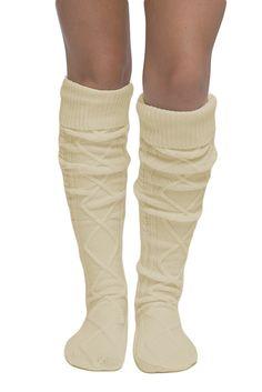 Diamond Cable Knit Boot Socks