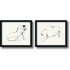 Sergei Firer 'Nude - set of 2' Framed Art Print (22 x 18-inch) Each