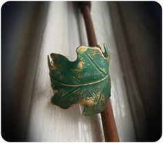Turquoise Patina Oak Leaf Cuff Ring