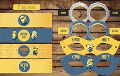 #minions #Cumple #etiquetas para #botellas #antifaces #kitimprimible #lente #disfraz #amarillo