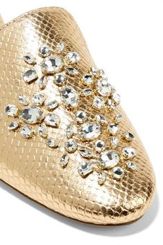 MICHAEL Michael Kors - Edie Embellished Metallic Snake-effect Leather Slippers - Gold Shoes Ads, Embellished Shoes, Leather Slippers, J Brand Jeans, Envy, Bucket Bag, Snake, Metallic, Loafers