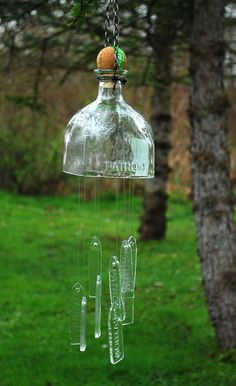 Windchimes made from recycled Patron Tequila bottle