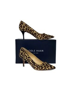 """Size 7.5 B Bradshaw Leopard Print Pumps Retails for $268 Leather soles Very light wear on outsoles Pony hair upper Comes w/original box Heel Height 3"""" Cole Haan is a long-time American fashion label first known for men's wear. Today it offers many products, including men's and women's dress and casual footwear, belts, hosiery, handbags, gloves, scarves, hats, outerwear, and sunglasses."""