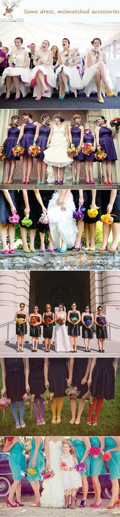 mismacth bridesmaid dresses-same dress mismacthes accessories