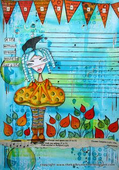 Art Journal By Kate - Moleskine - Dylusions blog hop | Flickr - Photo Sharing! Love the aqua background!!