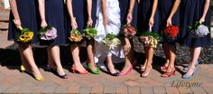LPV Wedding: Veronica & Anthony. Blue bridesmaid dresses. Bridesmaids have different color shoes and bouquets