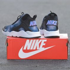 These Nike Huarache Ultras have been painted with a Galaxy Theme The Nike  Air Huarache Ultra 7476a94ec1