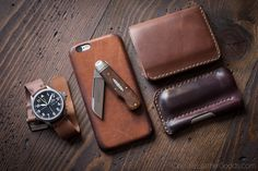 Today's carry: Damasko DA36, iphone with Apple's saddle brown leather case, Great Eastern Cutlery slipjoint, 6 Pocket Horizontal wallet in Horween natural shell cordovan, EDC1 knife/pen sleeve.