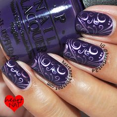 I have these; must do! OPI Vant to Bite My Neck stamped with PUEEN 26 and China Glaze Harmony.