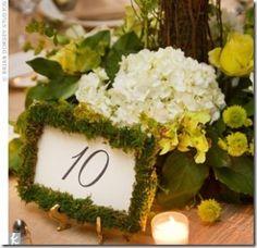 Moss framed wedding table number