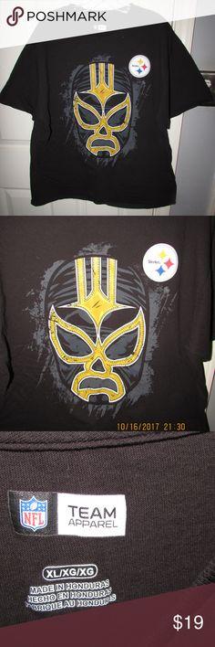 NFL PITTSBURGH STEELERS WRESLING MASK TEE SHIRT NFL Team Apparel Pittsburgh Steelers Wrestling Mask Tee Shirt.  Black in Color NFL Team Apparel Shirts Tees - Short Sleeve