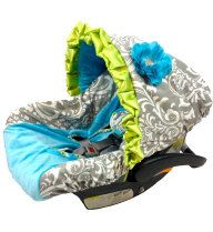 Infant Car Seat Cover, Baby Car Seat Cover including matching neck strap set Grey Damask