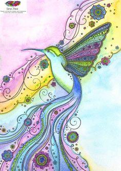 Gorgeous Little Hummingbird Watercolour Print by SarahTravisArt