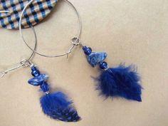 Lapis Lazuli Indigo blue third eye feather hoop earrings