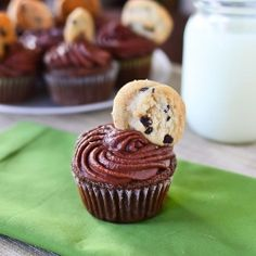Double chocolate chip cookie dough cupcakes with the most amazing chocolate buttercream frosting you've ever tasted.