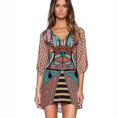 Retro Print V-neck Half Sleeve Short Dress