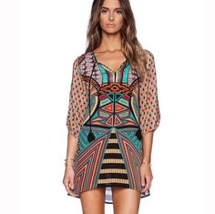 Retro Print V-neck Half Sleeve Short Dress