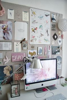 office inspiration Dream board - goal board for the year. All the things you hope to do and accomplish, out where you would see them every day. How To Make Ribbon, How To Make Diy, Fabric Memo Boards, Goal Board, Clothes Pegs, Hanging Photos, Living Styles, Pinterest Blog, Diy For Kids