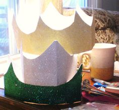 upcycled cereal box glitter crowns