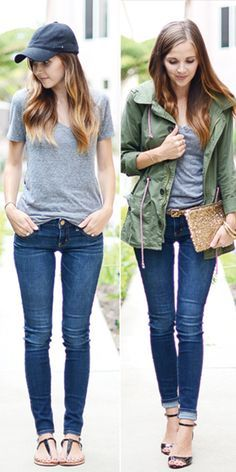 skinny jeans, grey t-shirt and olive parker; cool weekend-outfit