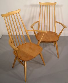 Hayloft Mid-Century Ercol Goldsmiths chairs and plank table restored including carvers