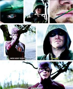 thomas grant gustin (the flash / bartholomew henry 'barry' allen) / stephen amell (oliver jonas queen / green arrow)