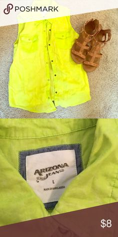Neon green sleeveless button up Great condition. Perfect for summer. Arizona Jean Company Tops Tank Tops