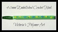 4.0mm Green Embellished Crochet Hook by VictoriasPolymerArt, £4.50
