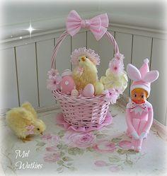 Decorated Pink & Pastel Lemon Easter Basket and pink Bunny elf knee hugger i made :)