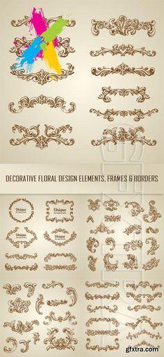 Decorative floral design elements, frames and borders