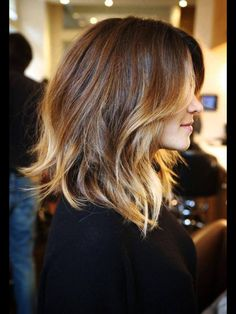 Medium Hair - if I had the guts to cut my hair... sort of love this style  color!