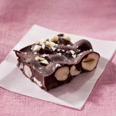 100- Calorie. Use your favorite combination of nuts to make this quick and easy chocolate nut bark.