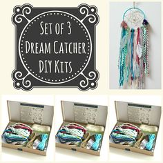 Choose any 3 diy dream catcher kits do it yourself craft kit gift set of 3 blue diy dream catcher kits do it yourself craft kit gift for solutioingenieria Gallery