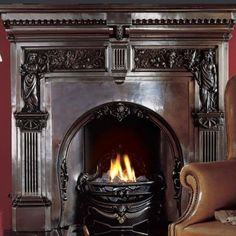 The magnificent Peace and Plenty exemplifies Acquisitions' approach to quality iron casting. This ornate period design incorporates two classic allegorical figures – Peace holding an olive branch and Plenty holding the Horn of Plenty and a jug of wine White Fireplace, Stove Fireplace, Living Room With Fireplace, Wood Fireplace, Fireplace Ideas, Bio Ethanol, Period Living, Traditional Fireplace, Metal Dining Table