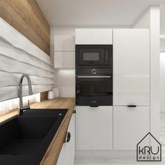 » Zakres projektu: kuchnia – 2 wersje KRU Design Kitchen Pantry Design, Kitchen Organization Pantry, Home Decor Kitchen, Interior Design Kitchen, Kitchen Furniture, Kitchen Dining, Kitchen Cabinets, Kitchens, Kitchen Design