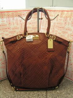 Coach Madison Brown Criss Cross Leather Lindsey Satchel Purse