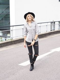 Double Denim wearing ripped jeans, a fedora and ankle boots inspired by Pete Doherty - Fashion blogger street style in @topman jeans #streetstyle #fashion #denim