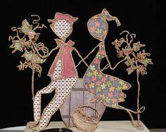 cadeau décoratif automne,ficelle et papier, vin nouveau, figurines etlabobinettecherra, vendanges, sculptures OOAK, fait-main français,