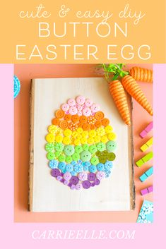 DIY Button Easter Egg Craft #easter #craft #eastercrafts #craftsforkids #buttons #buttoncraft #diy Quick And Easy Crafts, Easter Projects, Easter Crafts For Kids, Simple Crafts, Easter Ideas, Diy Ostern, Diy Buttons, Easter Party, Button Crafts