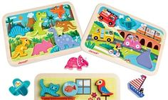 With their large pieces and colorful art, kids will be drawn to these chunky puzzles, which help develop object recognition and motor skills