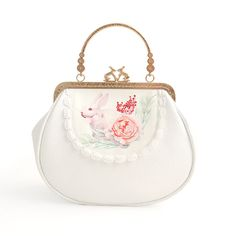Original Design Handmade White Lace Soft PU Rabbit Short Bag Frame Chain Cross-Body Floral Flower Mouth Gold Bag Handbags Totes