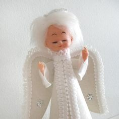 Vintage Christmas Angel Tree Topper Doll