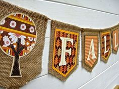 burlap flag garlands - I want to do something like this but with the alphabet