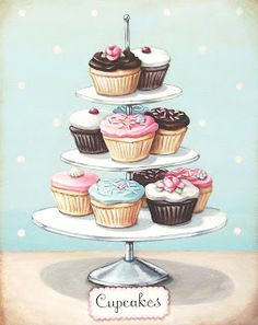 Cupcakes even *I* can't ruin! vintage bakery inspired cupcakes matted print by Everyday is a Holiday Cupcake Kunst, Cupcake Torte, Cupcake Fondant, Rose Cupcake, Cupcake Toppers, Cupcake Ideas, Vintage Bakery, Vintage Cupcake, Cupcake Illustration