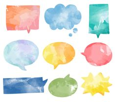 Set of colorful watercolor speech bubbles vector Free Vector Watercolor Paper Texture, Watercolor Logo, Watercolor Background, Abstract Watercolor, Doodle Art Journals, Journal Stickers, Free Illustrations, Textured Background, Cute Wallpapers
