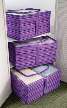 Purple Stripe Clearview Storage Bags - Set of 3